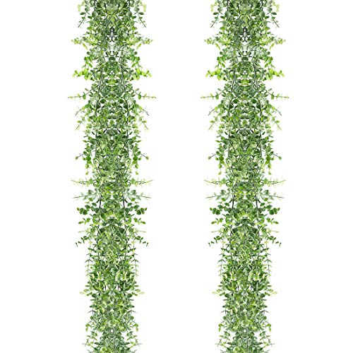 HAPLIA Artificial Vines Faux Eucalyptus Garland, 2 Pack Fake Eucalyptus Greenery Garland Wedding Backdrop Arch Wall Decor, 6 Feet/pcs Fake Hanging Plant for Table Festival Party Decorations