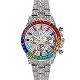 Reloj Iced out Diamantes de Tres Ojos Colorido Bling Bling Dial Calendario Cuarzo Cronógrafo Hip Hop Rapero Joyas Plata Rosa Oro Negro para Hombres Mujeres