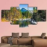 AAAKK Cuadro En Lienzo, Decoracion de Pared,Imagen Impresión, Pintura Decoración, hito del Parque Nacional de Yosemite California,5 Piezas XXL, Lienzo Decorativo para Tu Salón o Dormitorio