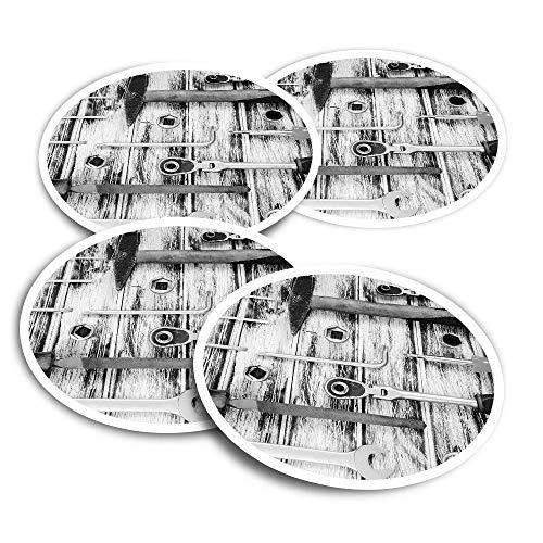 Pegatinas de vinilo (juego de 4) 10 cm – BW – Caja de herramientas mecánica, ingeniero comercial, calcomanías divertidas para portátiles, tabletas, equipaje, reserva de chatarra, neveras #43649