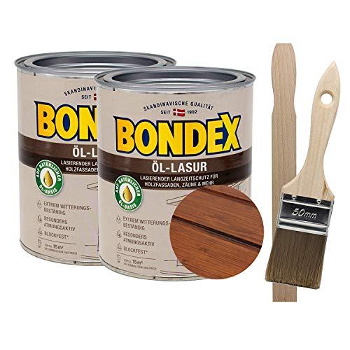 Bondex Öllasur Teak 2 x 0,75 l premium Holzlasur aus natürlichen Ölen inkl. Pinsel und Rührholz der Langzeitschutz für Holz im Aussenbereich