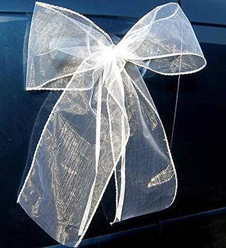Organza M Auto Schmuck Braut Paar Rose Deko Dekoration Hochzeit Car Auto Wedding Deko Girlande PKW (Reinweiß/Weiß) - 3