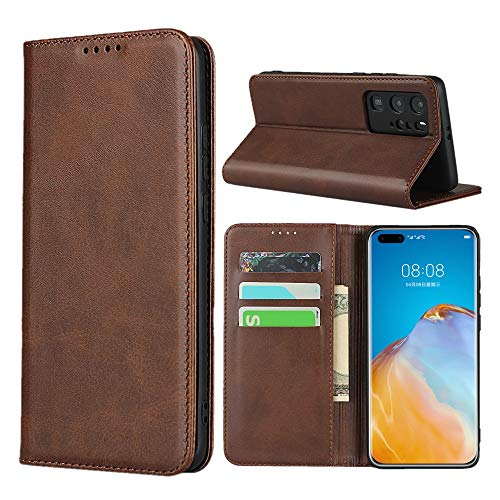 Huawei P40 Pro Case,SunYoo Cowhide Pattern Leather Magnetic Book Wallet Case Stand Holder Flip Cover with Card Slots/Cash Compatible with Huawei P40 Pro(6.58 inch)-Dark Brown
