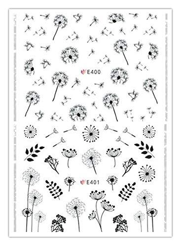 CHENZHIYU CZYU 2 PC/Set de uñas 3D Etiqueta Diente de león Flor Adhesivo de Transferencia del Arte del Clavo Tip Pegatinas de uñas Al Agua Pelicula for Unhas (Color : SF231)