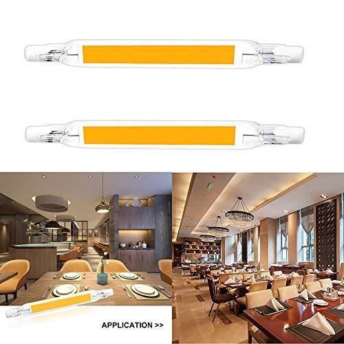 Konesky Bombillas LED R7S, 230 V No Regulable COB LED Lámpara Halógena Equivalente Foco de Repuesto El Ahorro de Energía Floodlight Linear Ligero (15W Blanco cálido)