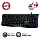 KLIM Domination - RGB Mechanical Keyboard US Layout - PC PS4 Mac - Blue Switches...