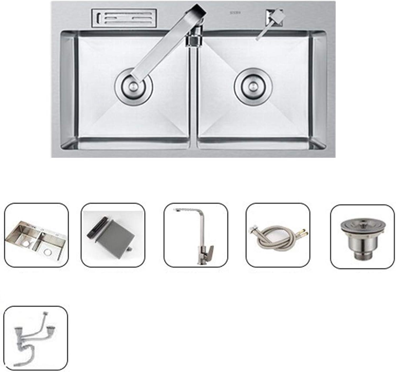 Küchenspüle Edelstahlspüle Doppelwaschbecken Einschlielich Wasserhahn 8 Zoll tief Verdicken Mit Messerhalter