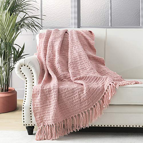 Manta gruesa de punto rosa para sofá, silla, sofá, cama, estilo bohemio, con diseño de cesta texturizada con flecos decorativos, 127 x 152 cm
