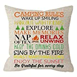 NIDITW Nice Sister Birthday Gift with Funny Camping Rules Cream Burlap...