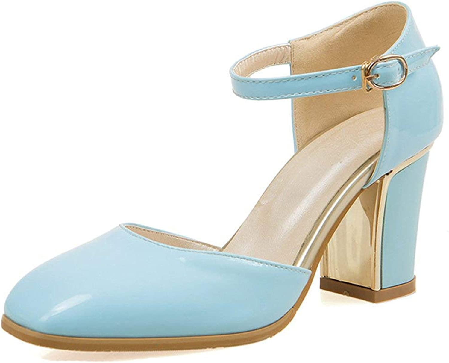 Unm Women's Closed Toe Sandals with Ankle Strap - Buckled Burnished Chunky - D'Orsay High Heels