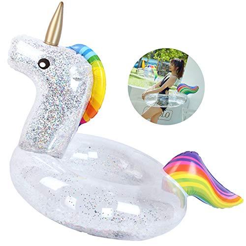 Anillo Inflable de Natación Unicornio Piscina Juguete Inflable Transparente Flotador de...