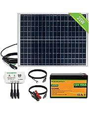 ECO-WORTHY Kit de sistema de panel solar de 10 vatios & Kit de sistema de panel solar de 25 vatios & Kit de iluminación solar de 18 W para emergencias, huracanes, camping con cargador solar USB
