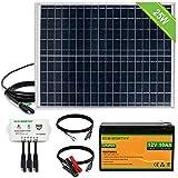 ECO-WORTHY Kit de Panel Solar Fuera de la Red de 25W 12V: Panel Solar de 25W + Cable de Conexión SAE + Controlador USB + Batería de Litio de 10Ah para Abridor de Puerta, Gallinero