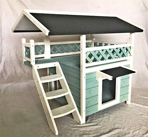 Seny Outdoor Wooden Cat House with Escape Door and Stairs-Blue