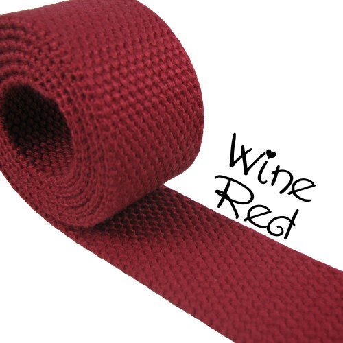Wine Red - Heavy Canvas Webbing Roll 1.25' for Key Fobs, Purse Straps, Belting (10 Yard Roll)
