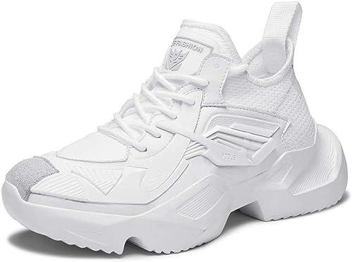 Hommes Baskets Maille Fond épais augmenté Chaussures de Course Avant Chaussures à Lacets Haut Chaussures décontractées Printemps Nouveau,A,44EU