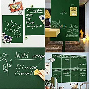 eS³kube Waterproof Chalkboard Removable Vinyl Wall Sticker Decal with 5-Pieces Chalk (Green, 200x45 cm)