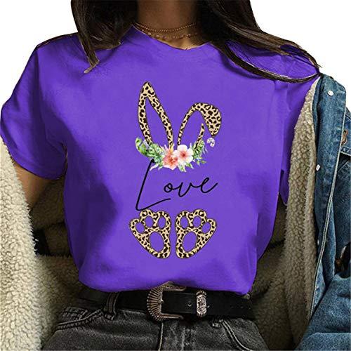 FCYOSO Happy Easter Women Shirt, Love Leopard Rubbit Print Puls Size Tops Shirt Purple XL