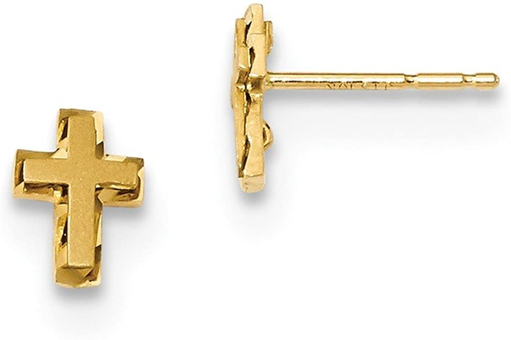 14k Yellow Gold Cross Religious Post Stud Earrings Ball Button Fine Jewelry For Women Gifts For Her