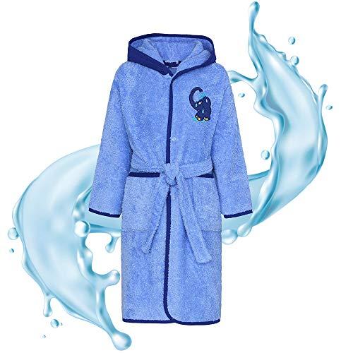 Smithy® Kinder-Bademantel aus 100% Baumwolle – Pflegeleichter Bademantel für Jungen und Mädchen – Original blauer Elefant von Die Sendung mit der Maus, Gr. 98/104