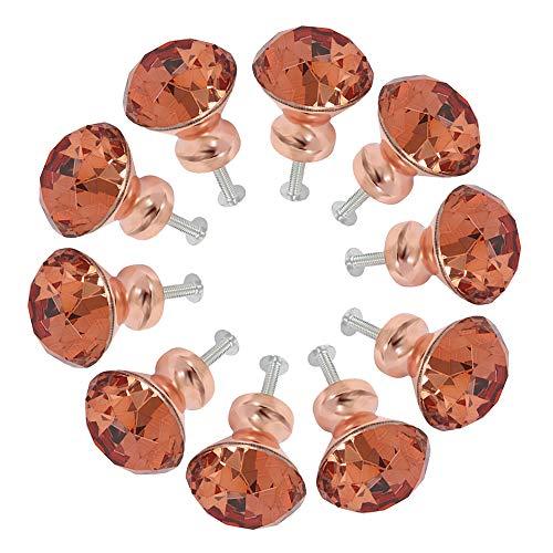 10pcs Drawer Knobs, Dresser Furniture Knobs, Crystal 30mm, Zinc Alloy, Rose Crystal Glass Furniture Knob, Handle, Wardrobe Pull Handles