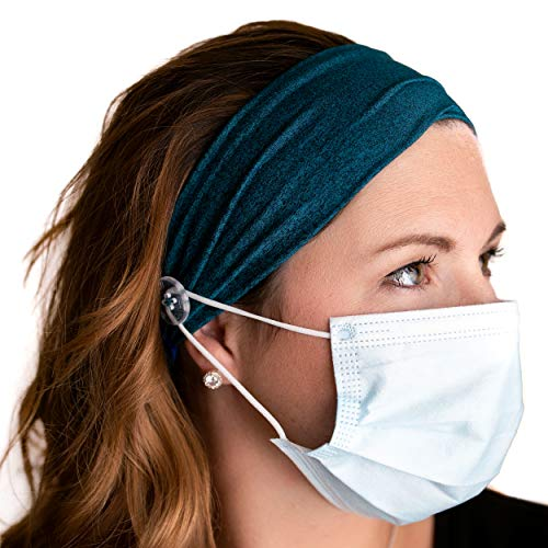 Savior Band headbands with buttons for mask for nurses, going out to the gym, grocery store or other places to protect your ears (Ocean Blue)