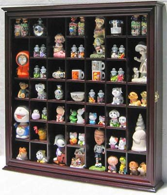 DisplayGifts Collectible Solid Wood Display Case Wall Curio Cabinet Real Glass Door Shadow Box Cherry Finish