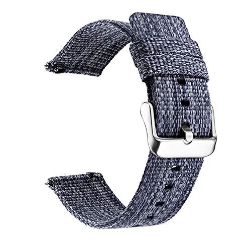 YYCHER Correa de reloj de nailon de 22 mm, 20 mm, 22 mm, liberación rápida para Samsung Galaxy Gear S3 S2, 18 mm, 20 mm, para Amazfit Bip (color de la correa: azul, ancho de la correa: 20 mm)