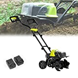 HIMNA PETTR Cordless Portable Electric Tiller, Cultivation Depth 18cm (7.1in), Farming Width 36cm (14.2in), Electric Roto Tillers for Garden, Lawn, Greenhouse