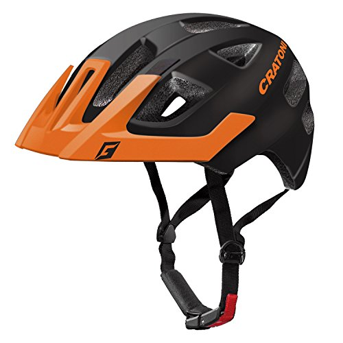 Cratoni Kinder Maxster Pro Fahrradhelm, Black/Orange Matt, S-M
