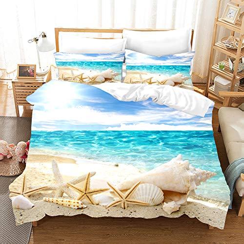 Rose Auroma 3D Pretty Beach and Seashell Bedding Set Duvet, 3D Seashells Blue Ocean Bedding 3 Piece Duvet Cover Sets - Twin Size