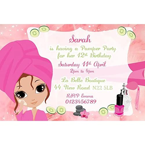 Personalised Pamper Party Invitations X10 Amazoncouk Toys Games
