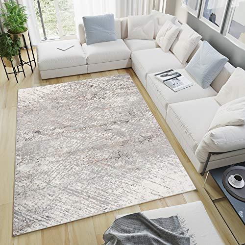 Tapiso Valley Alfombra de Salón Comedor Dormitorio Diseño Moderno Beige Gris Crema Abstracto Rayas Suave 200 x 300 cm