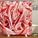 ZZZdz Kreative Süßigkeiten. Duschvorhang: 180 X 180 cm. Wasserdichter Stoffteppich Für Duschvorhang. Bad Duschvorhang Set Polyesterfaser Bad Duschvorhang.