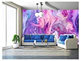 wall26 - Abstract Purple Paint Background. Acrylic Texture with Marble Pattern - Removable Wall Mural | Self-Adhesive Large Wallpaper - 100x144 inches