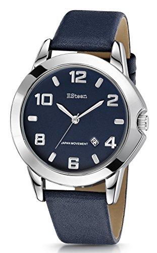 F.Steen Terrain-FS2D3 - Reloj analógico de Cuarzo japonés con Correa de Piel auténtica, Estilo Moderno, Color Plateado