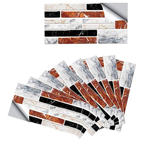 DMFSHI Pegatinas de Baldosa, Azulejos Adhesivos Cocina Pegatinas, 9 PCS de Adhesivos Impermeables y Duraderos para Azulejos de Pared, Azulejos Despegables y Adhesivos para Baño de Cocina (20x10 cm)