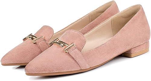 PLNXDM Chaussures à Semelle Plate Mocassins En Daim Chaussures De Ville Chaussures De Travail Pointues