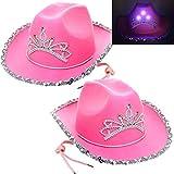 GIFTEXPRESS 2 Pcs CHILD LED Blinking Pink Tiara Cowboy...