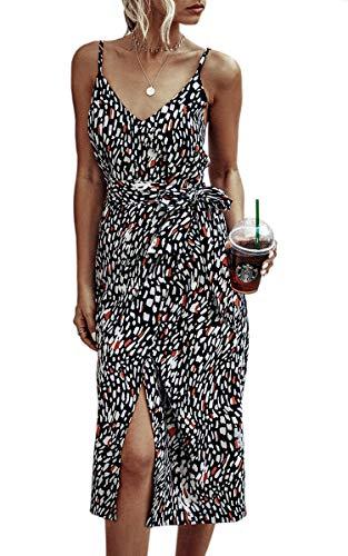 Spec4Y Damen Blumen Kleid V Ausschnitt Spaghetti Sommerkleider Ärmellos Strandkleid Kleider mit Schlitz Medium 234 Schwarz