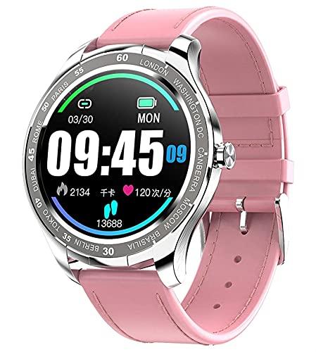 QHG Smart Watch para Android & iOS Teléfonos Pantalla táctil Completa Fitness Tracker Tasa de corazón Monitor de Salud Pareja Relojes Inteligentes (Color : Pink)