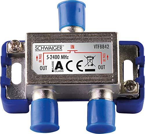 SCHWAIGER -9482- SAT-Verteiler 2-Fach digital/BK-Verteiler / 2-Wege Verteiler mit Kabel-Führung/SAT-Splitter 5-2400 MHz/zweifach Satelliten-Verteiler/für SAT-TV/DVB-S2 / Kabel-Fernsehen