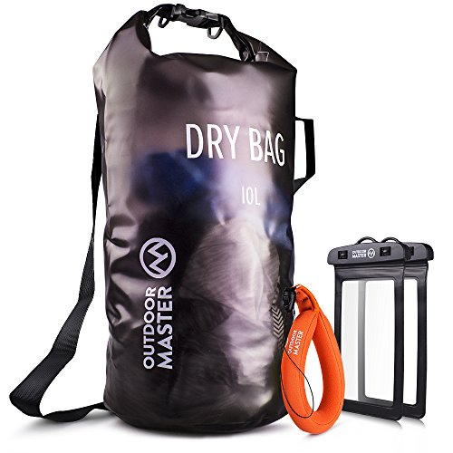 OutdoorMaster Dry Bag Waterproof Bag Compression Sack with 2 Cell Phone Cases Kayak Accessories Waterproof Backpack for The Beach Boating Fishing Kayaking Swimming Rafting Gray 5L