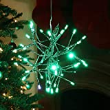 Alpine Corporation CRD100S-GN Large Christmas Green Snowflake Ornament with LED Lights Indoor Festive Holiday Décor, 10-Inch