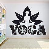 wopiaol Yoga Gym Wall Decal Quotes Namaste Lotus Flower Etiqueta de la Pared decoración de la habitación Calcomanías Yoga Logo Hindu DIY Vinyl Decals
