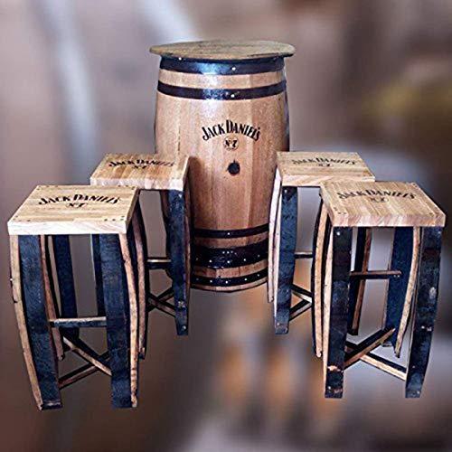Terrassentisch und Hocker aus einem recycelten Jack Daniel 's Whisky Fass aus massiver Eiche, Bar-Tisch, Kneipen-Tisch