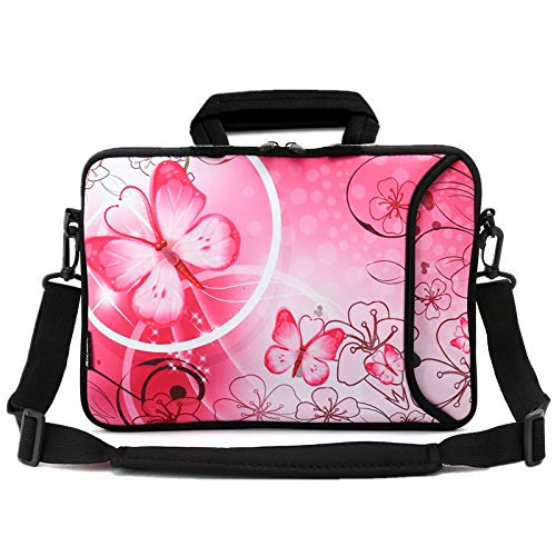 RICHEN 11 11.6 12 12.5 13 inches Case Laptop/Chromebook/Ultrabook/Notebook PC Messenger Bag Tablet Travel Case Neoprene Handle Sleeve with Shoulder Strap (11-13.3 inch, Pink Butterfly)