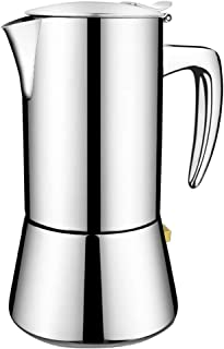 Stovetop Espresso Maker, Coffee Maker Moka Pot Stainless Steel Coffee Pot Cafe Maker Suitable for Induction Hobs (silver)