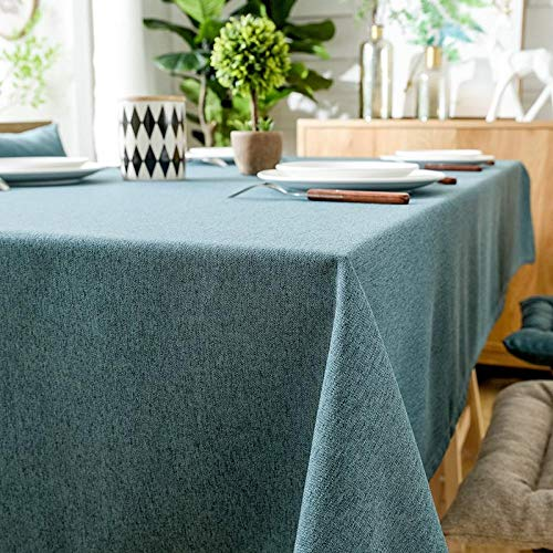 ZXCN Mantel Mesa Rectangular Antimanchas Impermeable Cubremesa Resistente Al Desgaste y Duradero para de Hogar Picnic del Hotel Tienda de Café Azul 120×160cm