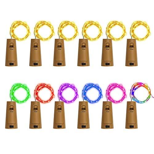 ZesNice 12 x 20 LED Flaschenlicht Korken mit Batterie, Hochzeit Deko, 2M Flaschen-Licht Flaschenlichterkette Flaschenbeleuchtung Kupferdraht Lichterkette Weinflasche Flaschen DIY Weihnachten Party